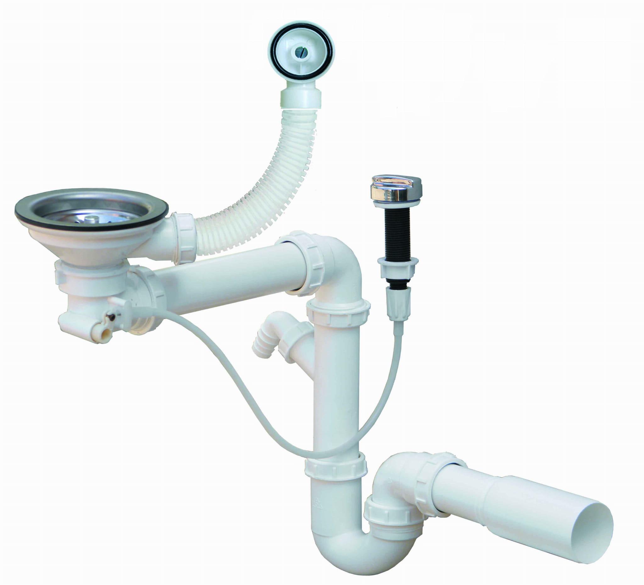 Syfon Zlewozmywakowy Przyścienny 1 Komorowy Automatyczny Sklep Neogran